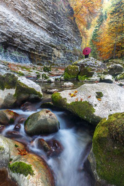 Chartreuse, Alps, red umbrella, Guiers Mort