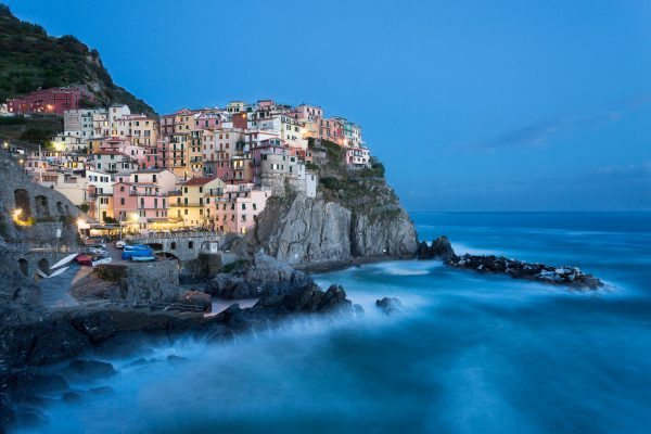 Cinque Terre, Italie, Ligurie, Manarola, heure bleue