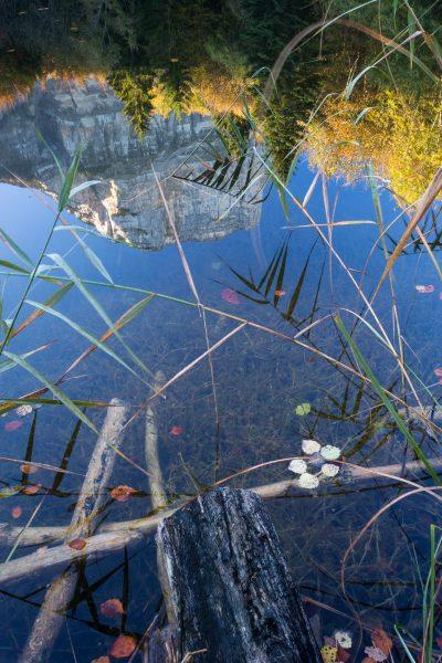 Alps, Isère, Chartreuse, reflet du Granier dans le lac Noir