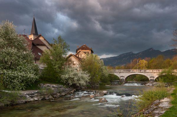 Alps, Isère, Chartreuse, clocher des Echelles, sous l'orage