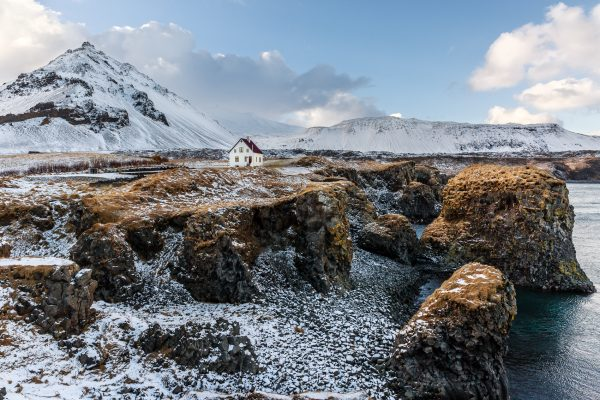 Islande, Péninsule de Snæfellsnes, Iceland, winter, Stapafell and Anarstapi