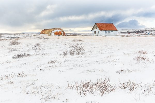 Islande, Iceland landscape, winter, the orange house