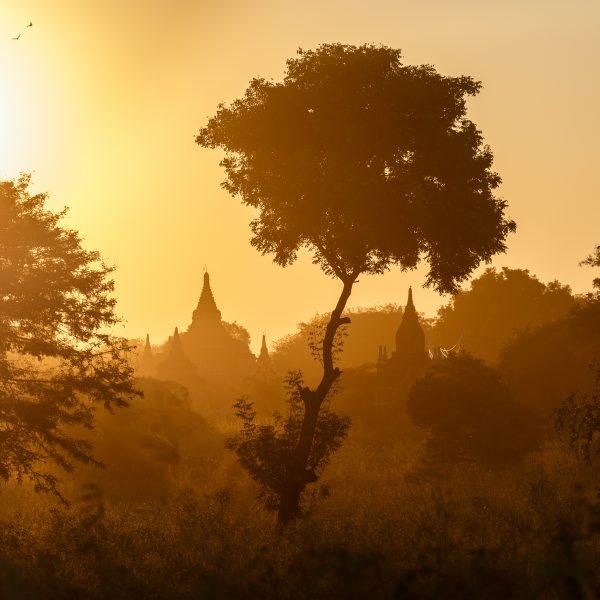 Myanmar, Birmanie, Bagan, coucher du soleil