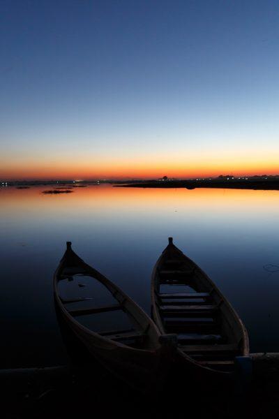 Myanmar, Birmanie, U Bein, Lac Taung Tha Man, barques