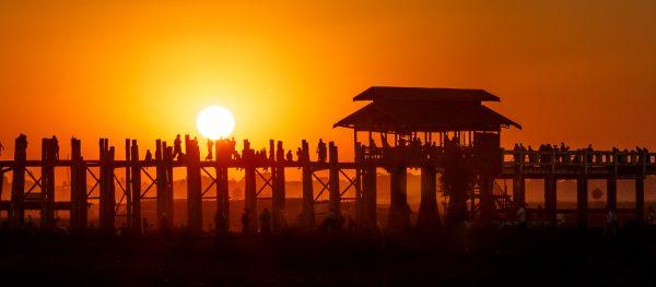 Myanmar, Birmanie, U Bein, coucher du soleil