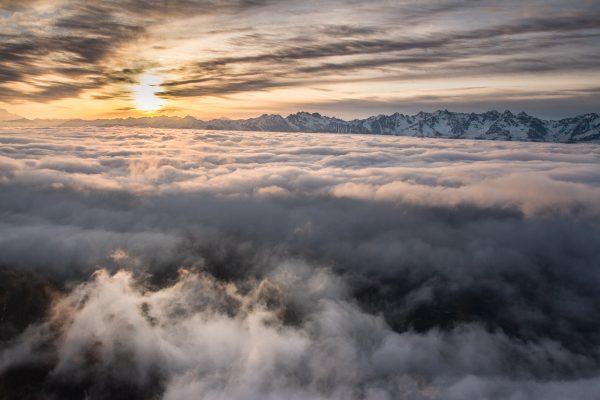 lever de soleil sur Belledonne, Chartreuse, Dôme de Bellefont, Alpes