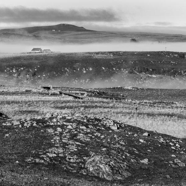 Aubrac, noir et blanc, paysage, buron, Lozère, Aveyron, Cantal