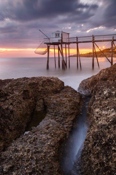 coucher de soleil au puits de l'Auture, Charente Maritime