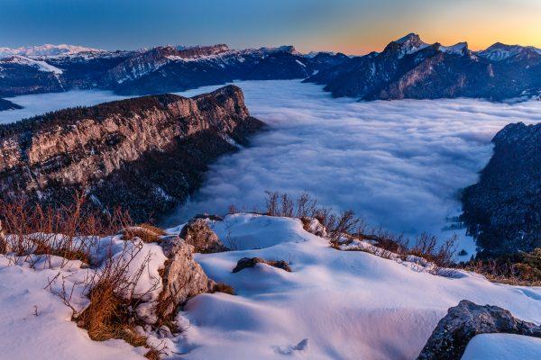coucher de soleil de la pointe de la Cochette, Savoie, Isère, pendant un stage photo Chartreuse en hiver