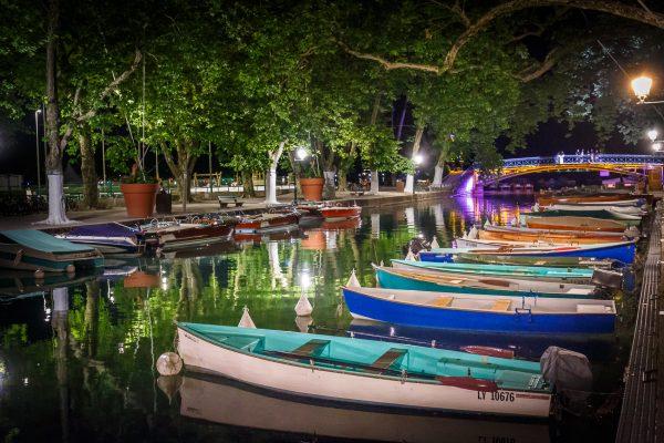 Annecy photo de nuit pont des amours, stage photo heure bleue