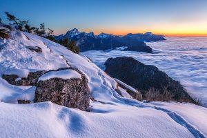 Coucher de soleil à la pointe de la Cochette, Stage photo en Chartreuse, Isère, Savoie, photo de paysage d'hiver en montagne