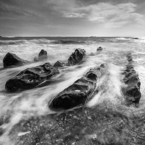 la mer sur les côtes jurassiques de Cornouailles, pose lente sur la mer