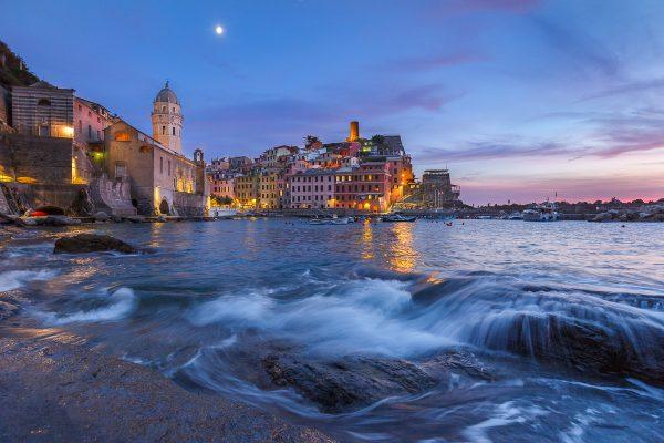 heure bleue dans les Cinque Terre, heure bleue à Vernazza