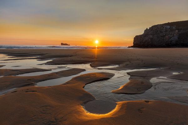 Coucher de soleil sur la plage, presqu'île de Crozon, Finistère