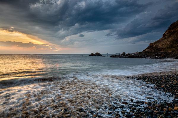Paysage de mer au coucher du soleil, stage photo Bretagne